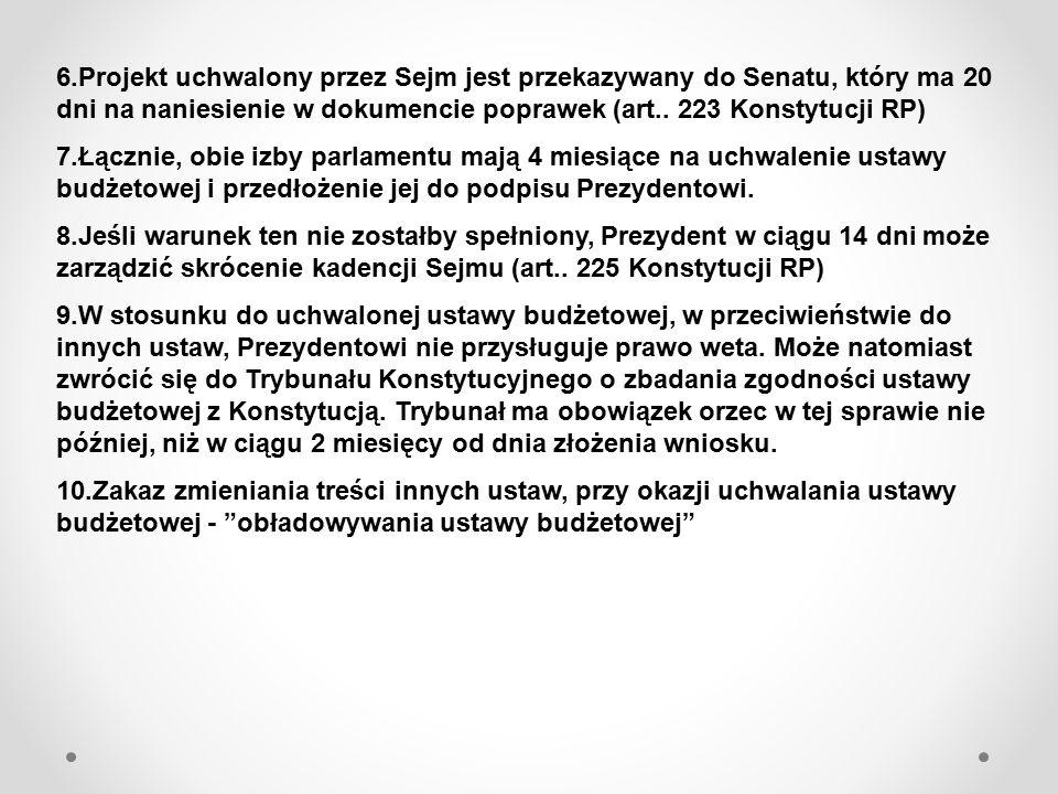 6.Projekt uchwalony przez Sejm jest przekazywany do Senatu, który ma 20 dni na naniesienie w dokumencie poprawek (art.. 223 Konstytucji RP) 7.Łącznie,