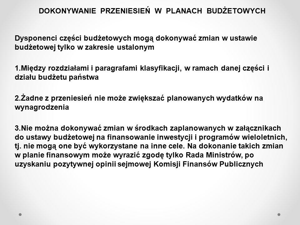 4.Przeniesienie polegające na zmniejszeniu lub zwiększeniu: -wydatków majątkowych - wymaga zawiadomienia Ministra Finansów -wydatków majątkowych jednorazowo o kwotę powyżej 100 tys.zł.