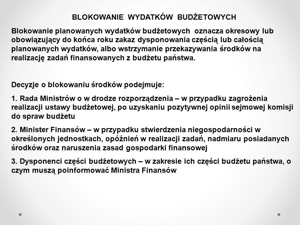 REZERWY BUDŻETOWE W budżecie państwa rezerwy mogą być utworzone tylko w wydzielonej części ustawy.