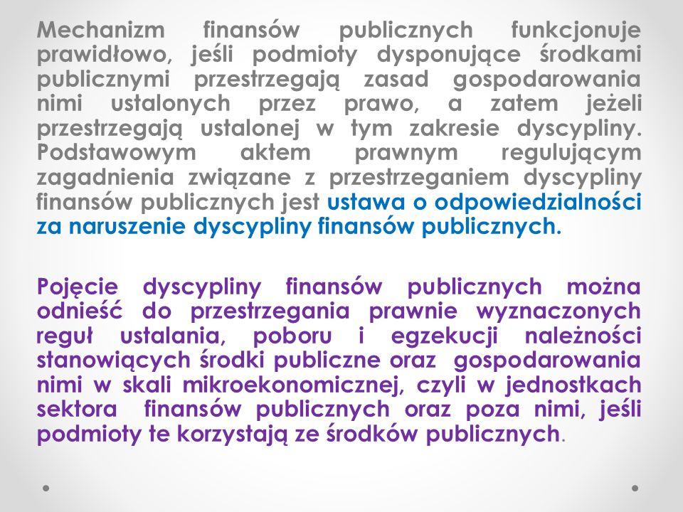 Odpowiedzialność za naruszenie dyscypliny finansów publicznych Ustawa z 17 XII 2004 r.