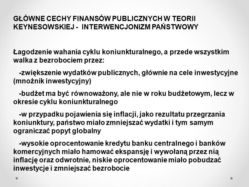 GŁÓWNE CECHY FINANSÓW PUBLICZNYCH W TEORII NEOLIBERALNEJ 1.Ograniczanie działalności państwa: najmniejsze obciążanie podatnika daninami 2.Jak najmniejszy budżet 3.Dominujące podatki pośrednie 4.Twarde ograniczanie deficytu budżetowego MONETARYZM FRIEDMANA 1.Bank centralny zapewnia stabilność cen przez regulację dopływu pieniądza do gospodarki, przez co groźba inflacji może być usunięta 2.Oczekiwania stałej wartości pieniądza i eliminacja groźby zniweczenia oszczędności przez inflację skłaniać będzie do zaangażowania inwestycyjnego jednostek gospodarczych, a więc wzrostu gospodarczego w dłuższym okresie 3.Gospodarka sama dostosowuje się do zmieniającej się sytuacji a interwencja rządu może popsuć cudowną naturę rynku