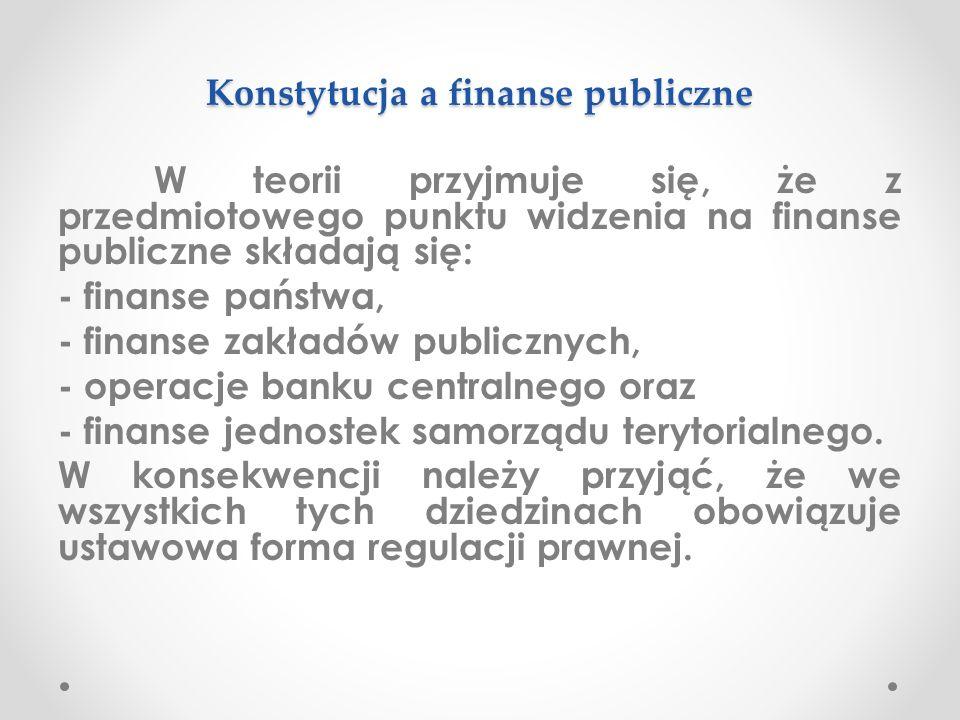 Konstytucyjny zakres ustawowej formy finansów publicznych Ustawowej formy wymaga więc: 1) finansowanie bezzwrotne, czyli gromadzenie i wydatkowanie środków finansowych na cele publiczne; 2) działalność finansowa w sferze majątkowej; 3) monopole państwowe; 4) wydatkowanie zwrotne (pożyczki) oraz gwarancje i poręczenia, które nie mogą przekroczyć określonego limitu.