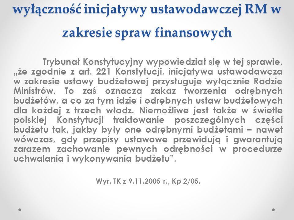 """wyłączność inicjatywy ustawodawczej RM w zakresie spraw finansowych Trybunał Konstytucyjny wypowiedział się w tej sprawie, """"że zgodnie z art. 221 Kons"""