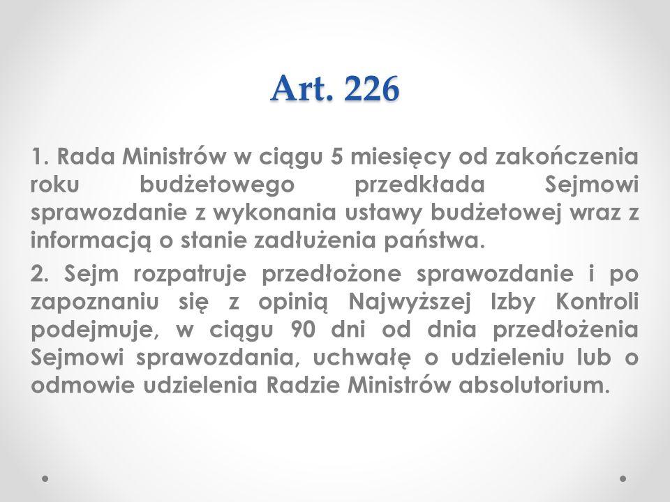 Art.226 Artykuł 226 Konstytucji RP reguluje instytucję absolutorium.