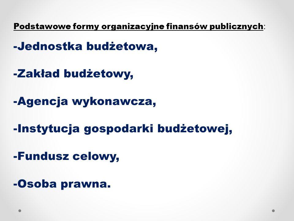 Gospodarka finansowa: 1.Brutto: - Jednostka budżetowa, 2.Netto klasyczne: - Zakład budżetowy, - Agencja wykonawcza.