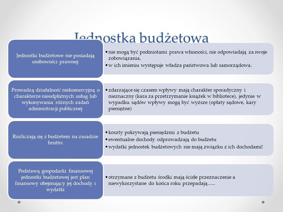 Przykłady jednostek budżetowych: żłobki i przedszkola urzędy statystyczne sądy i prokuratury areszty i więzienia ośrodki sportu i rekreacji ośrodki wychowawcze urzędy administracji samorządowej i państwowej