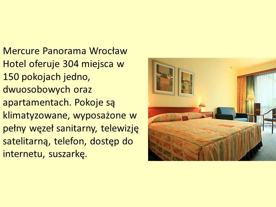 Mercure Panorama Wrocław Hotel oferuje 304 miejsca w 150 pokojach jedno, dwuosobowych oraz apartamentach.