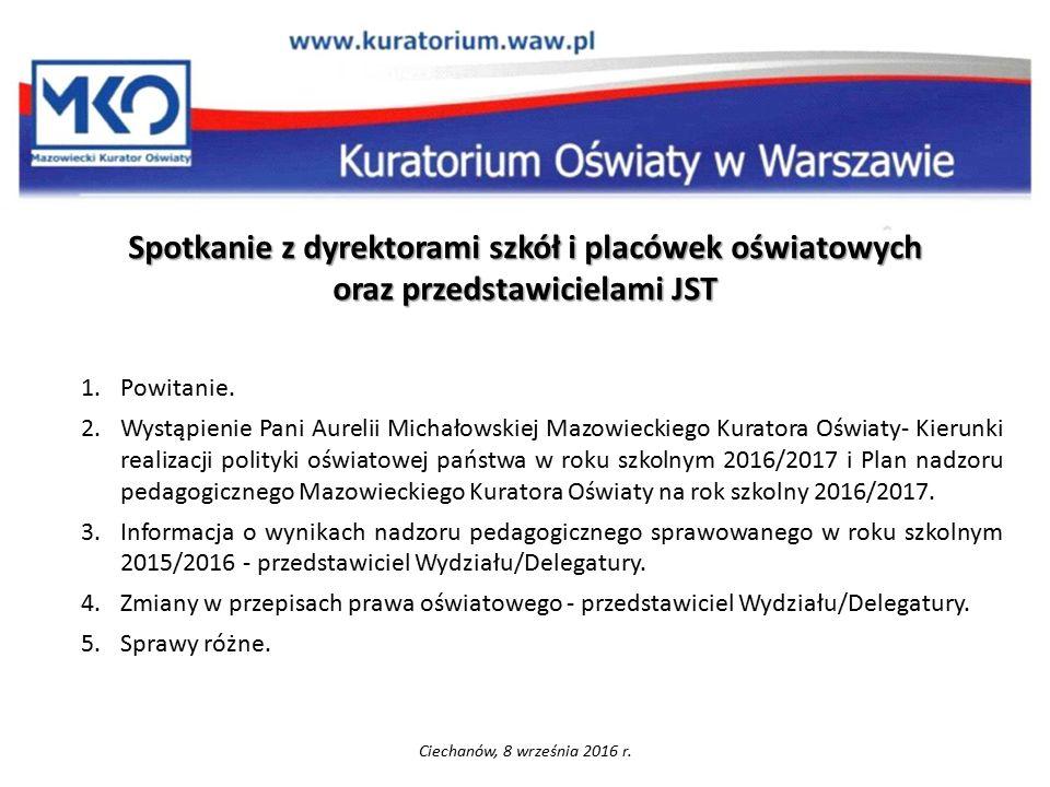 Nadzór pedagogiczny w roku szkolnym 2016/2017 Ciechanów, 8 września 2016r.