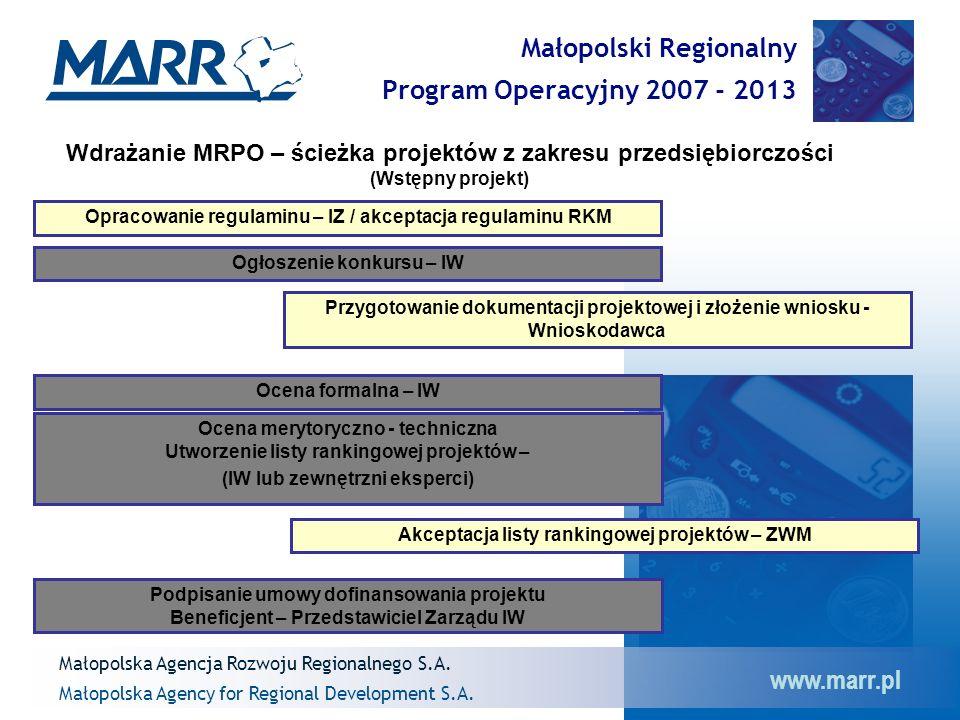 www.marr.pl Małopolski Regionalny Program Operacyjny 2007 - 2013 Małopolska Agency for Regional Development S.A.