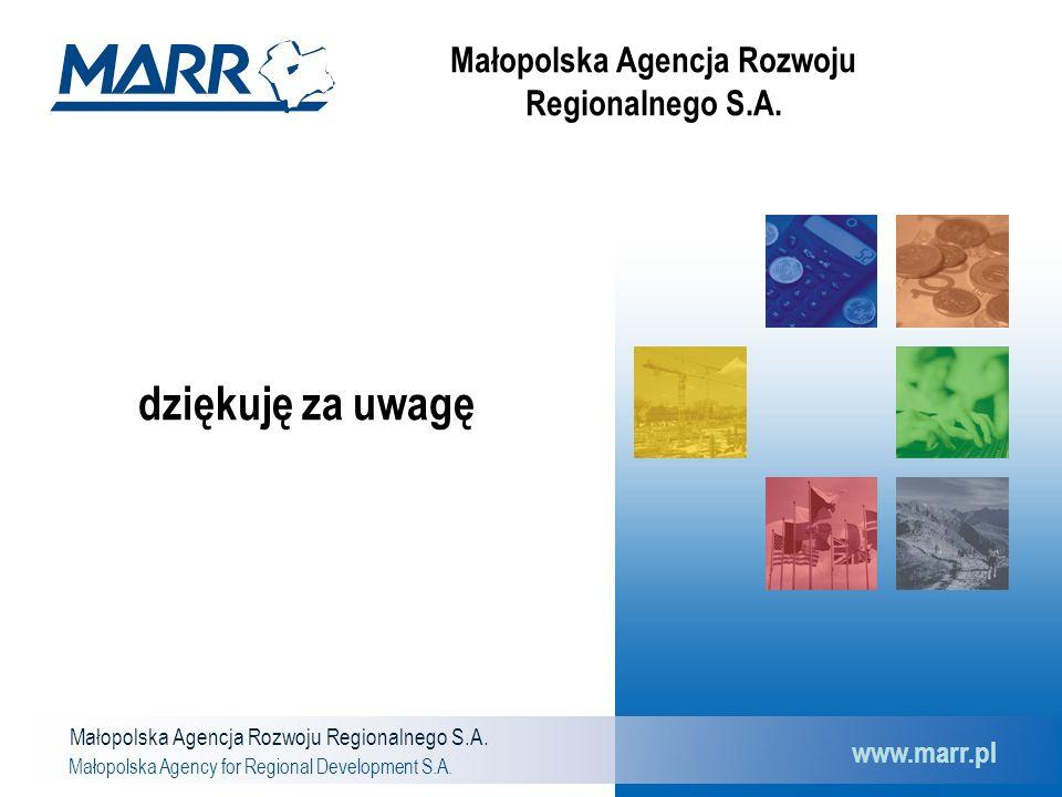 Małopolska Agencja Rozwoju Regionalnego S.A. Małopolska Agency for Regional Development S.A. www.marr.pl dziękuję za uwagę