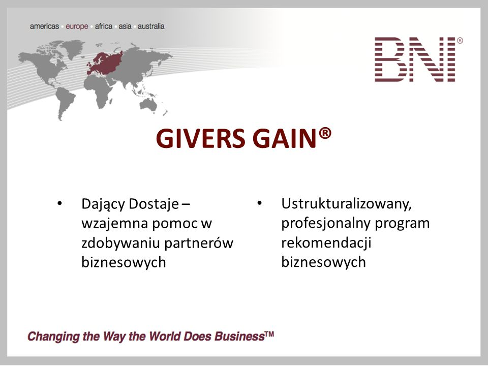 GIVERS GAIN® Ustrukturalizowany, profesjonalny program rekomendacji biznesowych Dający Dostaje – wzajemna pomoc w zdobywaniu partnerów biznesowych