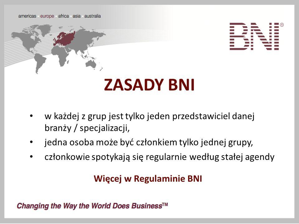 ZASADY BNI w każdej z grup jest tylko jeden przedstawiciel danej branży / specjalizacji, jedna osoba może być członkiem tylko jednej grupy, członkowie spotykają się regularnie według stałej agendy Więcej w Regulaminie BNI