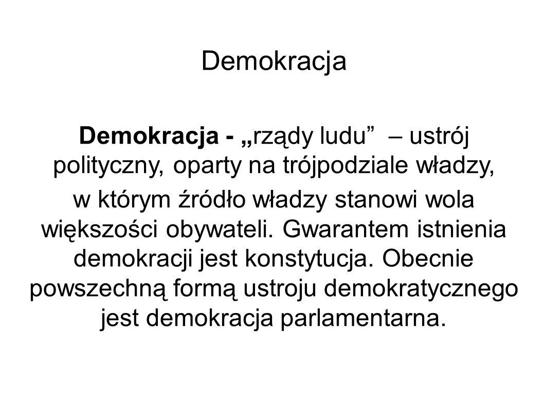 """Demokracja Demokracja - """"rządy ludu"""" – ustrój polityczny, oparty na trójpodziale władzy, w którym źródło władzy stanowi wola większości obywateli. Gwa"""