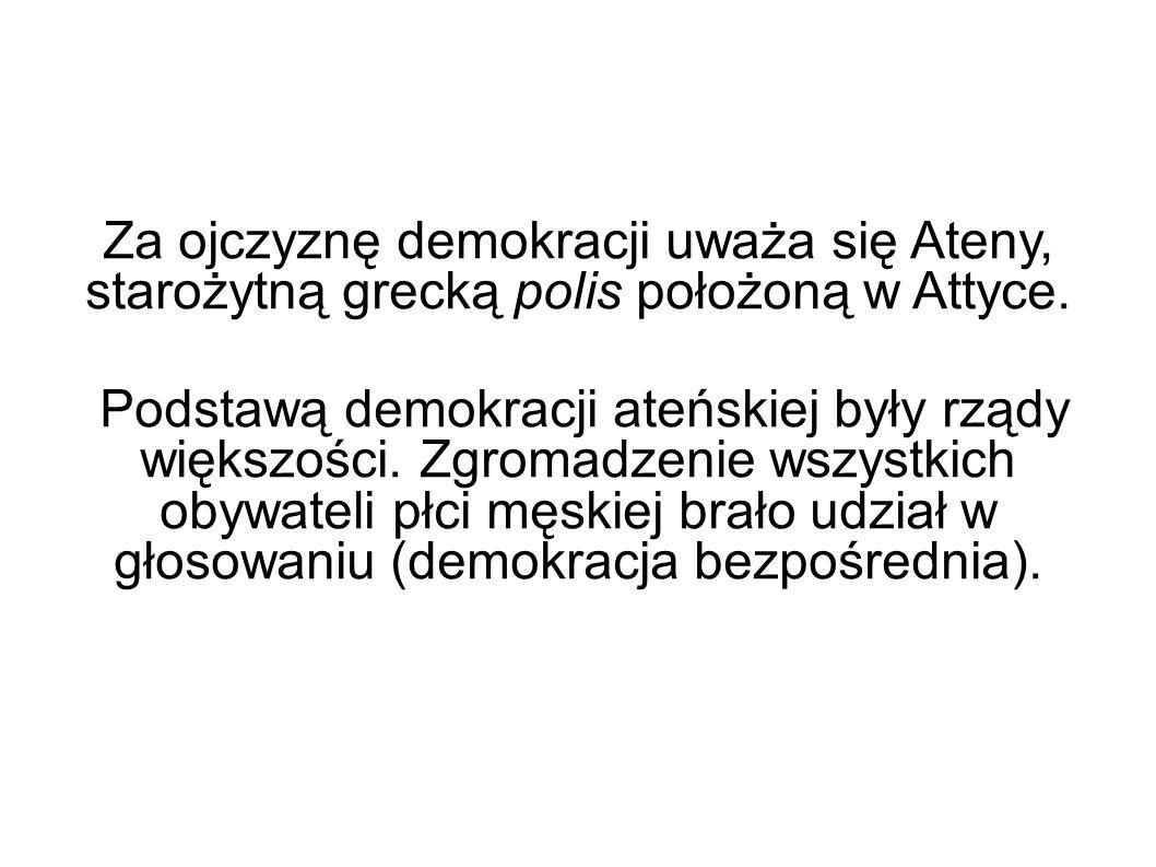 Za ojczyznę demokracji uważa się Ateny, starożytną grecką polis położoną w Attyce. Podstawą demokracji ateńskiej były rządy większości. Zgromadzenie w