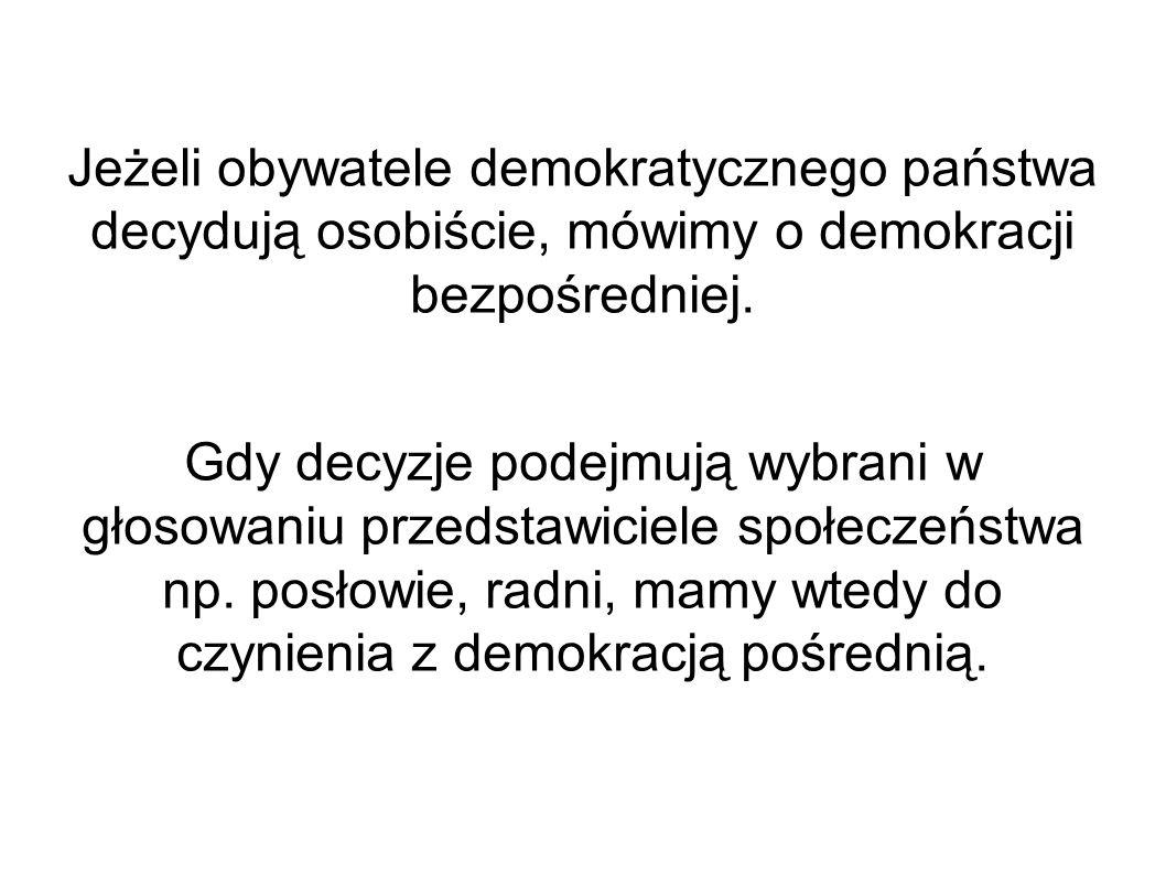 Demokracja bezpośrednia Decyzję dotyczącą konkretnej sprawy osobiście podejmują uprawnieni do tego obywatele.