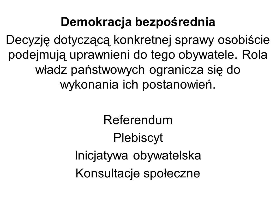 Demokracja bezpośrednia Decyzję dotyczącą konkretnej sprawy osobiście podejmują uprawnieni do tego obywatele. Rola władz państwowych ogranicza się do