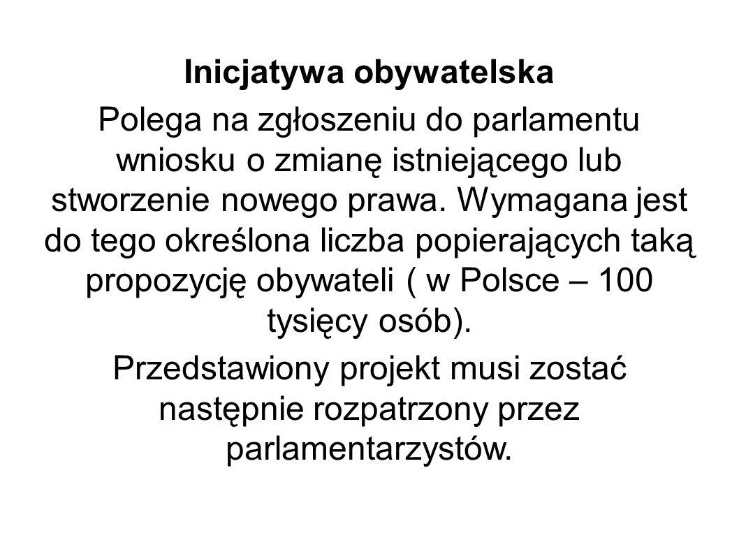 Inicjatywa obywatelska Polega na zgłoszeniu do parlamentu wniosku o zmianę istniejącego lub stworzenie nowego prawa. Wymagana jest do tego określona l