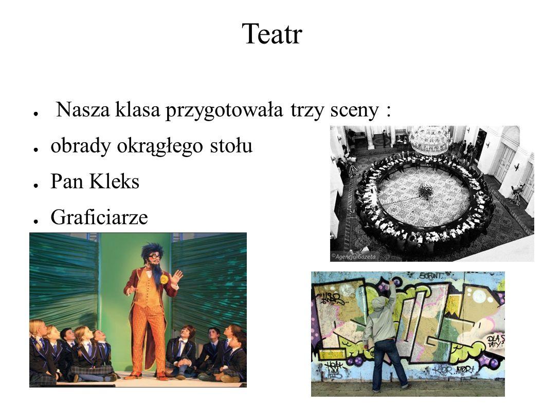 Teatr ● Nasza klasa przygotowała trzy sceny : ● obrady okrągłego stołu ● Pan Kleks ● Graficiarze