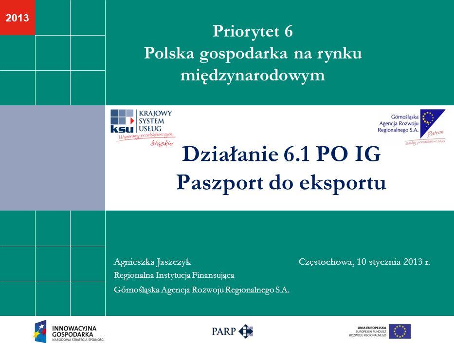 2013 Priorytet 6 Polska gospodarka na rynku międzynarodowym Działanie 6.1 PO IG Paszport do eksportu Agnieszka Jaszczyk Częstochowa, 10 stycznia 2013 r.