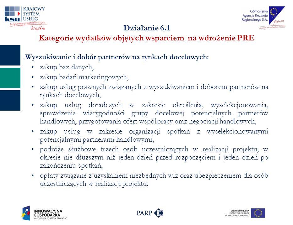 Działanie 6.1 Kategorie wydatków objętych wsparciem na wdrożenie PRE Wyszukiwanie i dobór partnerów na rynkach docelowych: zakup baz danych, zakup badań marketingowych, zakup usług prawnych związanych z wyszukiwaniem i doborem partnerów na rynkach docelowych, zakup usług doradczych w zakresie określenia, wyselekcjonowania, sprawdzenia wiarygodności grupy docelowej potencjalnych partnerów handlowych, przygotowania ofert współpracy oraz negocjacji handlowych, zakup usług w zakresie organizacji spotkań z wyselekcjonowanymi potencjalnymi partnerami handlowymi, podróże służbowe trzech osób uczestniczących w realizacji projektu, w okresie nie dłuższym niż jeden dzień przed rozpoczęciem i jeden dzień po zakończeniu spotkań, opłaty związane z uzyskaniem niezbędnych wiz oraz ubezpieczeniem dla osób uczestniczących w realizacji projektu.