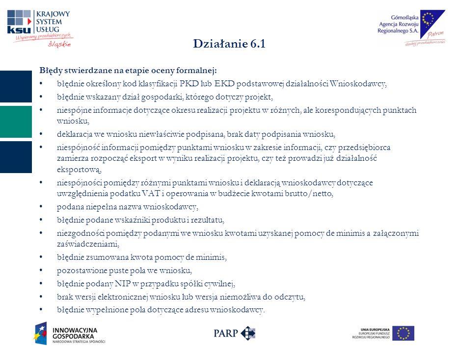 Działanie 6.1 Błędy stwierdzane na etapie oceny formalnej: błędnie określony kod klasyfikacji PKD lub EKD podstawowej działalności Wnioskodawcy, błędnie wskazany dział gospodarki, którego dotyczy projekt, niespójne informacje dotyczące okresu realizacji projektu w różnych, ale korespondujących punktach wniosku, deklaracja we wniosku niewłaściwie podpisana, brak daty podpisania wniosku, niespójność informacji pomiędzy punktami wniosku w zakresie informacji, czy przedsiębiorca zamierza rozpocząć eksport w wyniku realizacji projektu, czy też prowadzi już działalność eksportową, niespójności pomiędzy różnymi punktami wniosku i deklaracją wnioskodawcy dotyczące uwzględnienia podatku VAT i operowania w budżecie kwotami brutto/netto, podana niepełna nazwa wnioskodawcy, błędnie podane wskaźniki produktu i rezultatu, niezgodności pomiędzy podanymi we wniosku kwotami uzyskanej pomocy de minimis a załączonymi zaświadczeniami, błędnie zsumowana kwota pomocy de minimis, pozostawione puste pola we wniosku, błędnie podany NIP w przypadku spółki cywilnej, brak wersji elektronicznej wniosku lub wersja niemożliwa do odczytu, błędnie wypełnione pola dotyczące adresu wnioskodawcy.