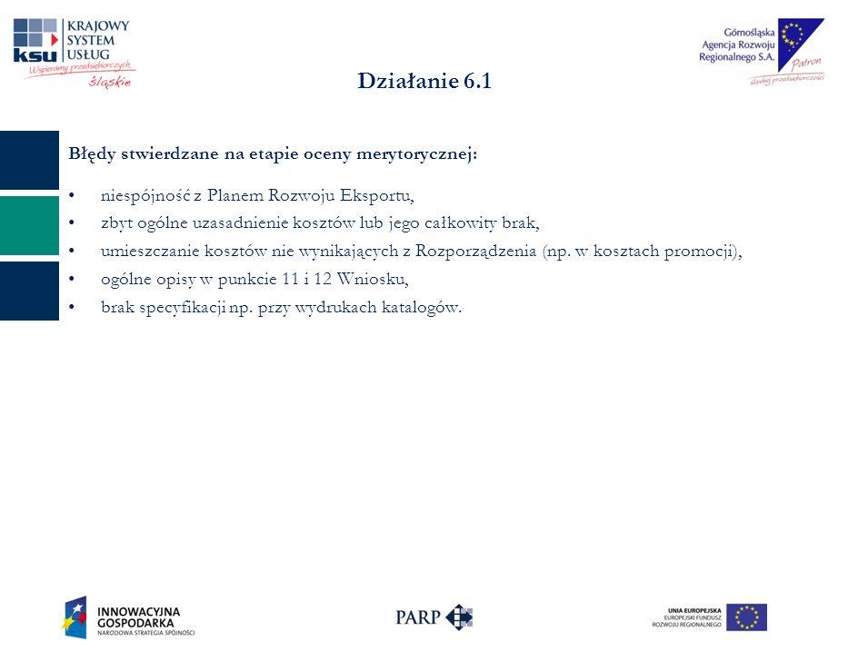 Działanie 6.1 Błędy stwierdzane na etapie oceny merytorycznej: niespójność z Planem Rozwoju Eksportu, zbyt ogólne uzasadnienie kosztów lub jego całkow
