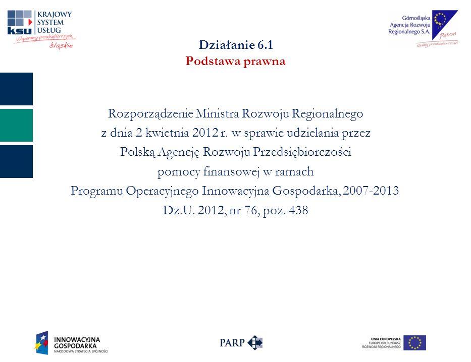 Działanie 6.1 Podstawa prawna Rozporządzenie Ministra Rozwoju Regionalnego z dnia 2 kwietnia 2012 r. w sprawie udzielania przez Polską Agencję Rozwoju