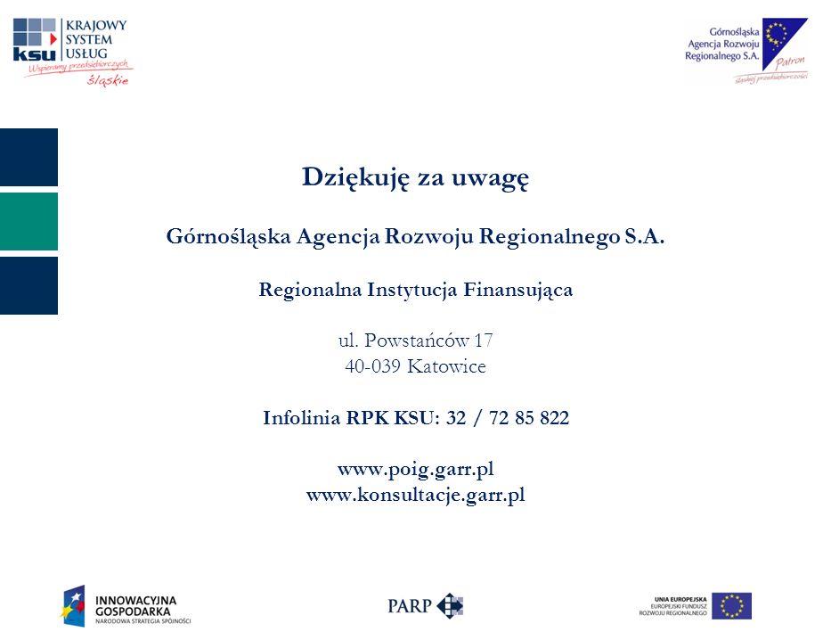 Dziękuję za uwagę Górnośląska Agencja Rozwoju Regionalnego S.A. Regionalna Instytucja Finansująca ul. Powstańców 17 40-039 Katowice Infolinia RPK KSU: