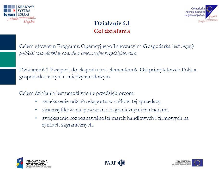 Działanie 6.1 Cel działania Celem głównym Programu Operacyjnego Innowacyjna Gospodarka jest rozwój polskiej gospodarki w oparciu o innowacyjne przedsiębiorstwa.