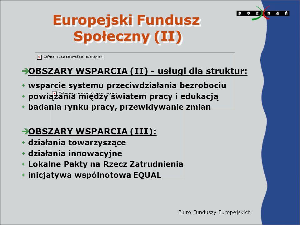Biuro Funduszy Europejskich Europejski Fundusz Społeczny (II) Europejski Fundusz Społeczny (II)  OBSZARY WSPARCIA (II) - usługi dla struktur:  wsparcie systemu przeciwdziałania bezrobociu  powiązania między światem pracy i edukacją  badania rynku pracy, przewidywanie zmian  OBSZARY WSPARCIA (III):  działania towarzyszące  działania innowacyjne  Lokalne Pakty na Rzecz Zatrudnienia  inicjatywa wspólnotowa EQUAL