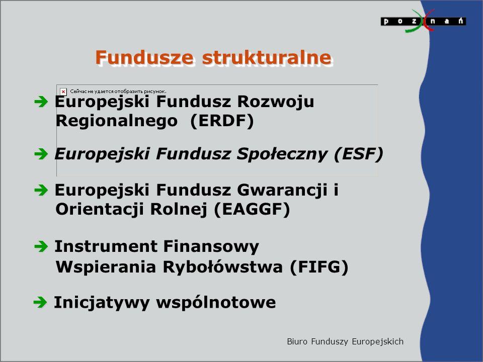 Biuro Funduszy Europejskich Fundusze strukturalne   Europejski Fundusz Rozwoju Regionalnego (ERDF)   Europejski Fundusz Społeczny (ESF)   Europejski Fundusz Gwarancji i Orientacji Rolnej (EAGGF)   Instrument Finansowy Wspierania Rybołówstwa (FIFG)   Inicjatywy wspólnotowe