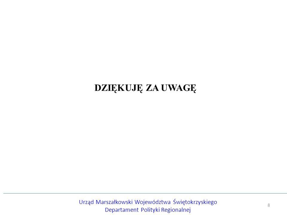 DZIĘKUJĘ ZA UWAGĘ Urząd Marszałkowski Województwa Świętokrzyskiego Departament Polityki Regionalnej 8