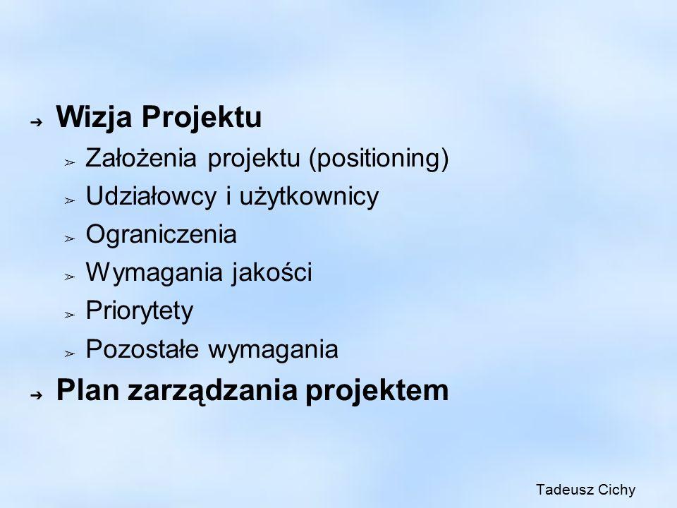 ➔ Wizja Projektu ➢ Założenia projektu (positioning) ➢ Udziałowcy i użytkownicy ➢ Ograniczenia ➢ Wymagania jakości ➢ Priorytety ➢ Pozostałe wymagania ➔ Plan zarządzania projektem Tadeusz Cichy