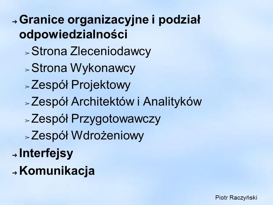 ➔ Granice organizacyjne i podział odpowiedzialności ➢ Strona Zleceniodawcy ➢ Strona Wykonawcy ➢ Zespół Projektowy ➢ Zespół Architektów i Analityków ➢