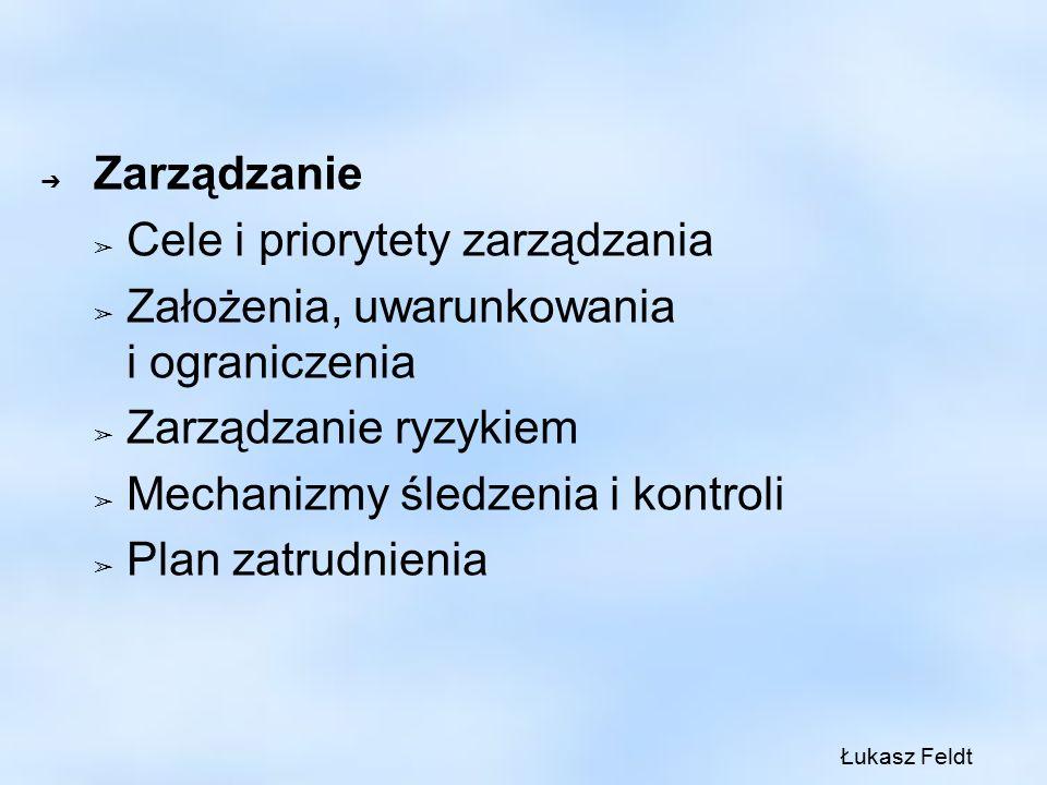 ➔ Zarządzanie ➢ Cele i priorytety zarządzania ➢ Założenia, uwarunkowania i ograniczenia ➢ Zarządzanie ryzykiem ➢ Mechanizmy śledzenia i kontroli ➢ Plan zatrudnienia Łukasz Feldt