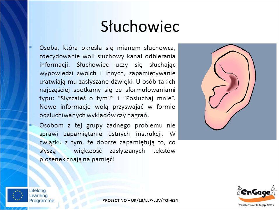 Słuchowiec PROJECT NO – UK/13/LLP-LdV/TOI-624  Osoba, która określa się mianem słuchowca, zdecydowanie woli słuchowy kanał odbierania informacji.