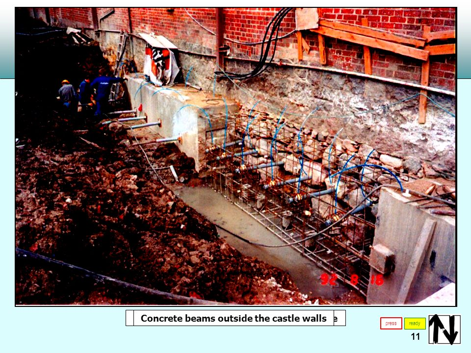 11 press ready TNa micropiles TNa micropiles inside the cellar of the castleConcrete beams outside the castle walls