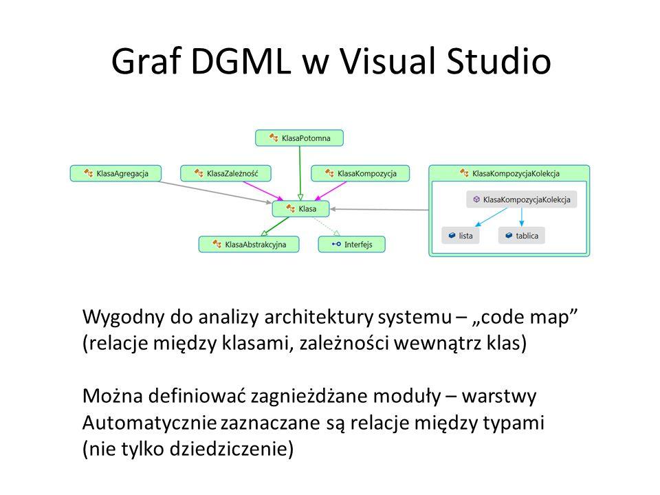 """Graf DGML w Visual Studio Wygodny do analizy architektury systemu – """"code map (relacje między klasami, zależności wewnątrz klas) Można definiować zagnieżdżane moduły – warstwy Automatycznie zaznaczane są relacje między typami (nie tylko dziedziczenie)"""