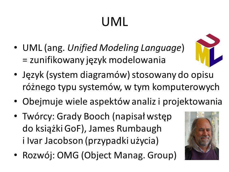 UML UML (ang. Unified Modeling Language) = zunifikowany język modelowania Język (system diagramów) stosowany do opisu różnego typu systemów, w tym kom