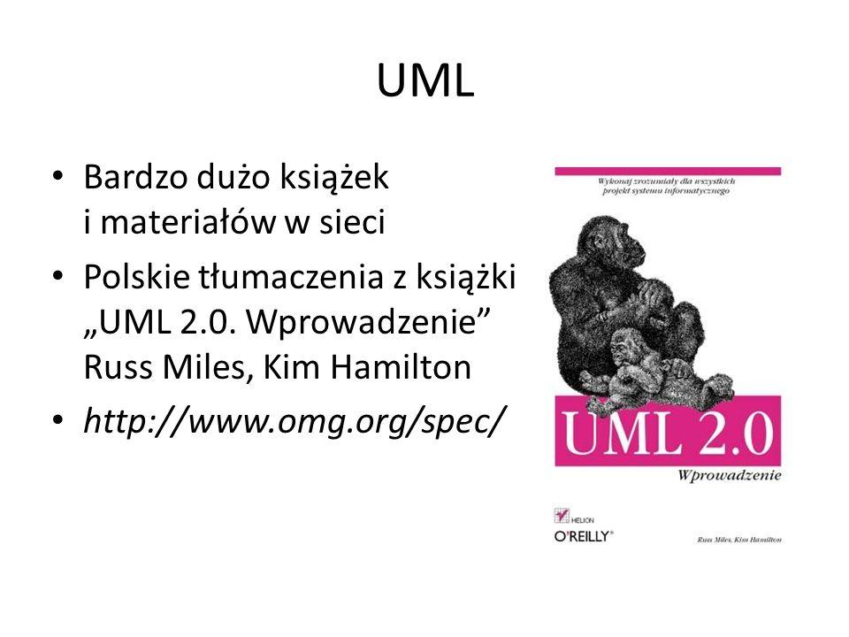 """UML Bardzo dużo książek i materiałów w sieci Polskie tłumaczenia z książki """"UML 2.0. Wprowadzenie"""" Russ Miles, Kim Hamilton http://www.omg.org/spec/"""