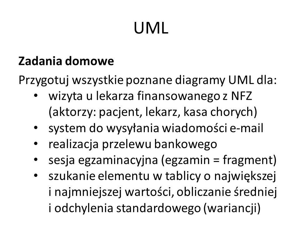 UML Zadania domowe Przygotuj wszystkie poznane diagramy UML dla: wizyta u lekarza finansowanego z NFZ (aktorzy: pacjent, lekarz, kasa chorych) system