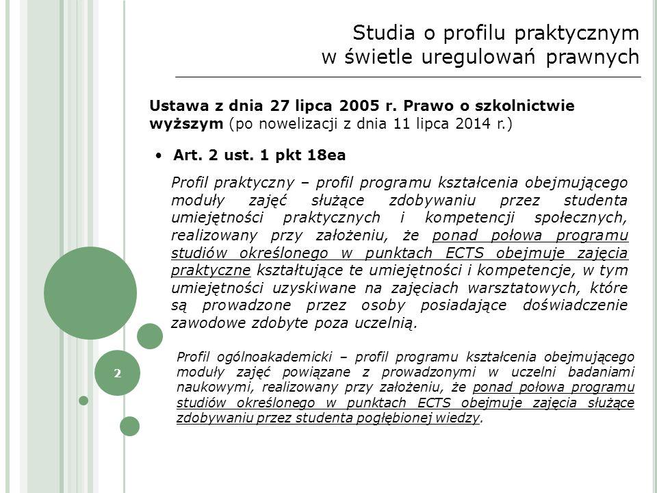 2 Studia o profilu praktycznym w świetle uregulowań prawnych Ustawa z dnia 27 lipca 2005 r. Prawo o szkolnictwie wyższym (po nowelizacji z dnia 11 lip