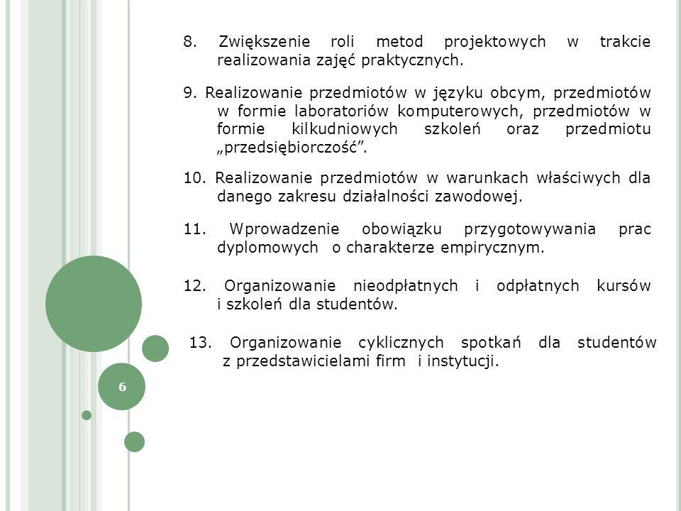 6 9. Realizowanie przedmiotów w języku obcym, przedmiotów w formie laboratoriów komputerowych, przedmiotów w formie kilkudniowych szkoleń oraz przedmi