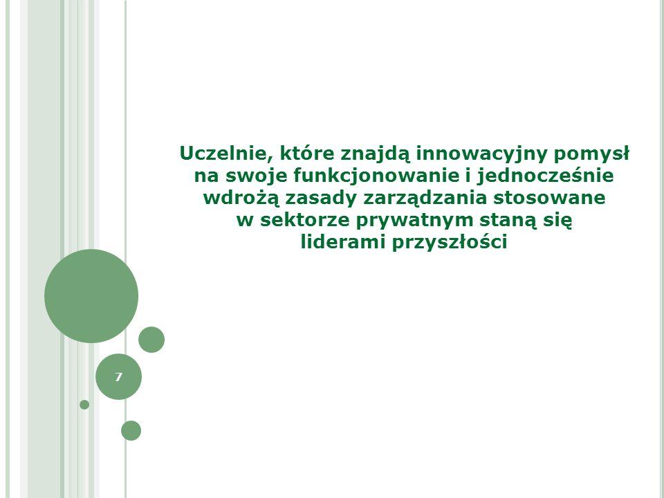 7 Uczelnie, które znajdą innowacyjny pomysł na swoje funkcjonowanie i jednocześnie wdrożą zasady zarządzania stosowane w sektorze prywatnym staną się