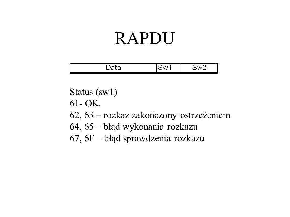 RAPDU Status (sw1) 61- OK.