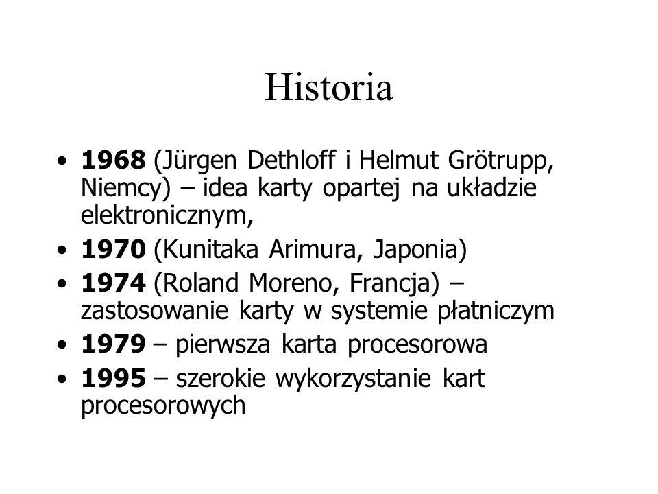 Historia 1968 (Jürgen Dethloff i Helmut Grötrupp, Niemcy) – idea karty opartej na układzie elektronicznym, 1970 (Kunitaka Arimura, Japonia) 1974 (Roland Moreno, Francja) – zastosowanie karty w systemie płatniczym 1979 – pierwsza karta procesorowa 1995 – szerokie wykorzystanie kart procesorowych