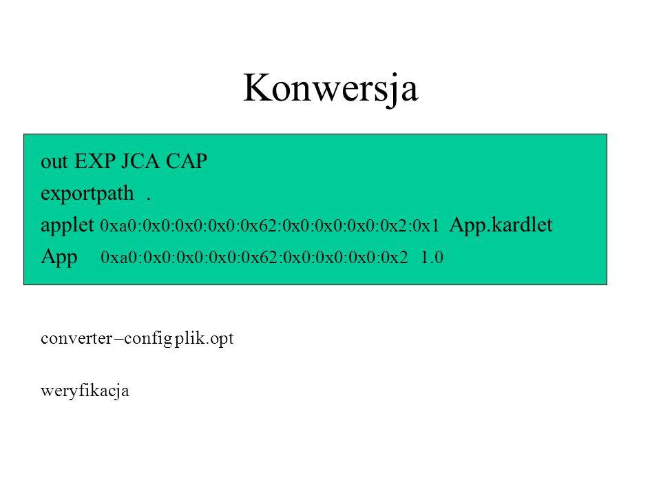 Konwersja out EXP JCA CAP exportpath.