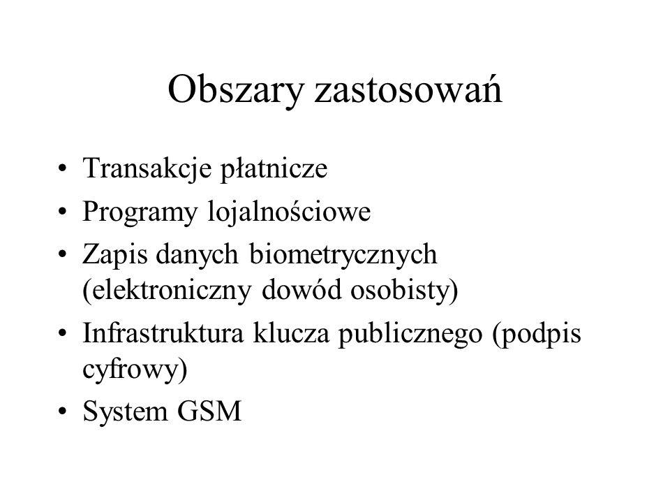 Obszary zastosowań Transakcje płatnicze Programy lojalnościowe Zapis danych biometrycznych (elektroniczny dowód osobisty) Infrastruktura klucza publicznego (podpis cyfrowy) System GSM