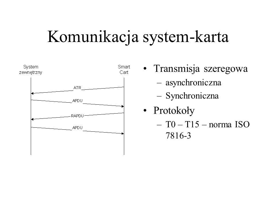Komunikacja system-karta Transmisja szeregowa –asynchroniczna –Synchroniczna Protokoły –T0 – T15 – norma ISO 7816-3