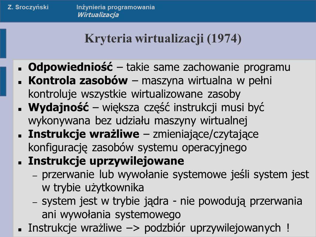 Z. SroczyńskiInżynieria programowania Wirtualizacja Kryteria wirtualizacji (1974) Odpowiedniość – takie same zachowanie programu Kontrola zasobów – ma
